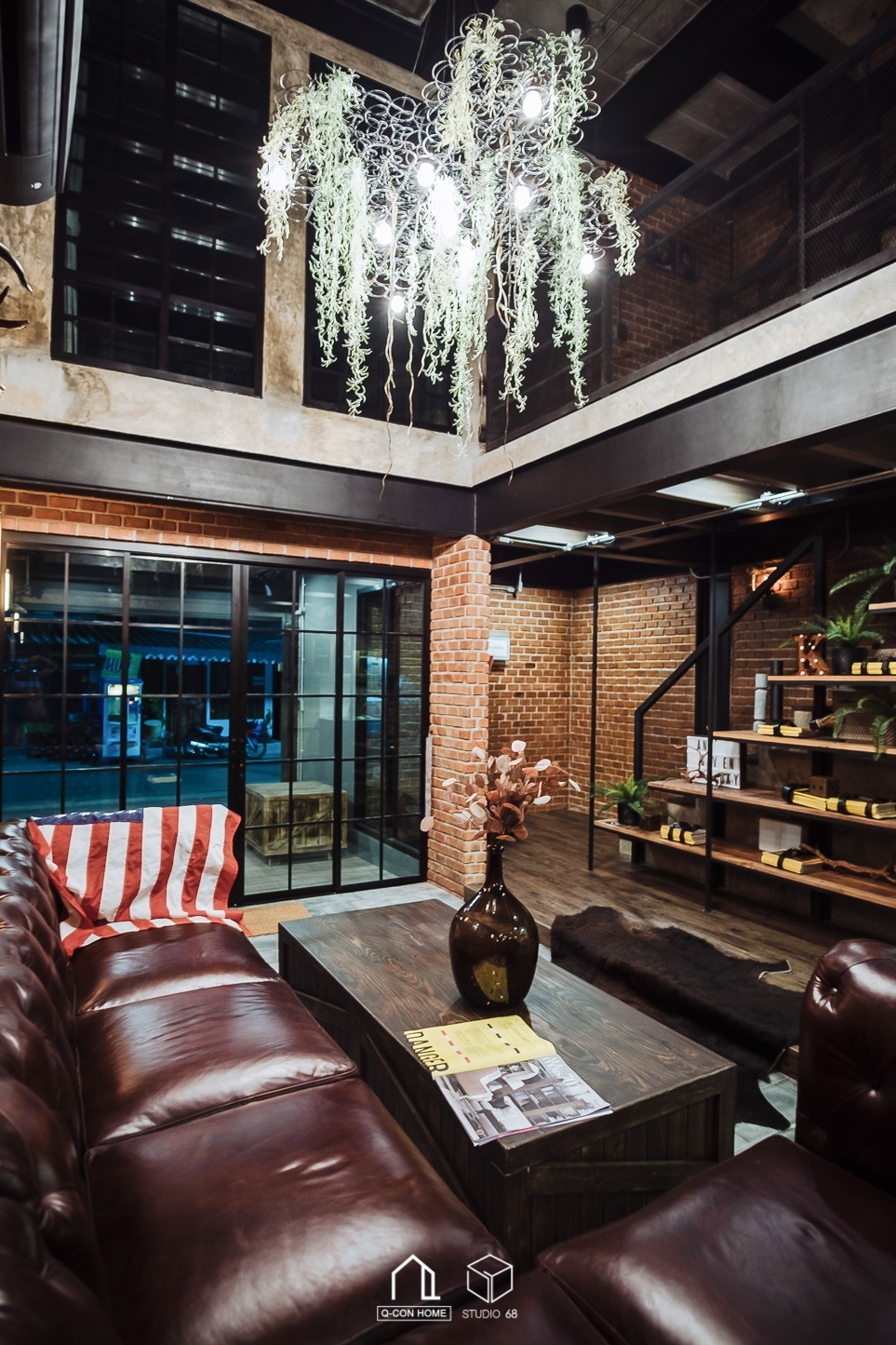 Pool Villa HuaHin, ที่พักพูลวิลล่าหัวหิน, ออกแบบโรงแรมสไตล์ Loft industrial, ออกแบบโรงแรม, รับสร้างโรงแรม, ห้องนั่งเล่นสไตล์ loft